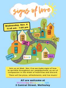 Wellesley Village Church signs of love flyer